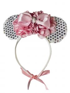 Sinai Kids Girls White Sequin Minnie Mouse Pink Carnation Bow Headband Diadem