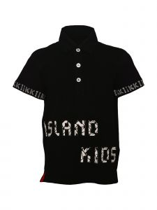 Island Kids & Kids Isle Big Boys Black Collar Polo Shirt 8-12