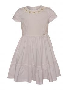Island Kids & Kids Isle Little Girls White Flower Short Sleeve Dress 4-6