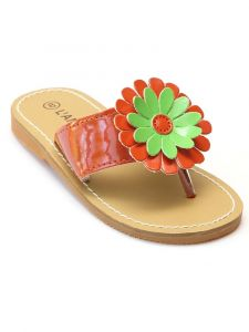 Toddler Girls Tangerine Daisy Flip Flop Spring Sandals Shoes 7-10