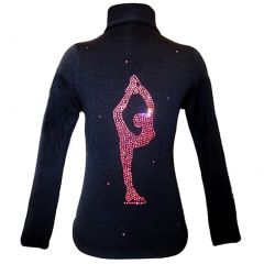 Ice Fire Skate Wear Black Jacket Pink Sparkle Applique Girl 4-Women L