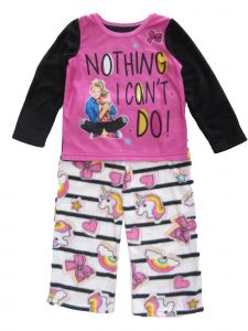 JoJo Siwa Big Girls Black Pink Unicorn Nothing I Can't Do 2pc Pajama Set 8-10