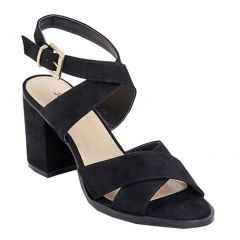 "Julienne Adult Black Suede 3"" Block Heel Cross Straps Sandals 5.5-11 Women"