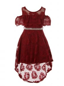 Just Kids Girls High-Low Floral Lace Overlay Flower Girl Dress 4-14