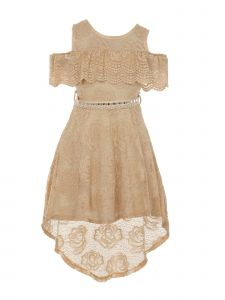 Just Kids Little Girls Champagne High-Low Floral Lace Overlay Flower Girl Dress 4-6