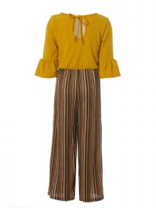 Just Kids Little Girls Mustard Stripe 1pc Fall Jumpsuit 4-6