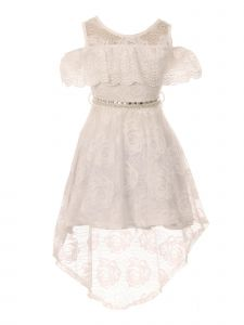 Just Kids Little Girls Ivory High-Low Floral Lace Overlay Flower Girl Dress 4-6