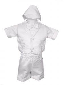 Rain Kids Little Boys White 4 pc Cross Embroidered Vest Hat Baptism Outfit 2-4T