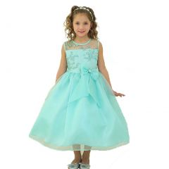Calla Collection Little Girls Mint Lace Top Ribbon Flower Girl Dress 2T-6