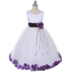Kids Dream Baby Girls White Satin Purple Floating Petal Flower Girl Dress 6M-24M