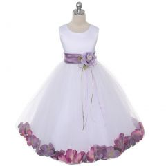 Kids Dream Baby Girls White Satin Lavender Petal Flower Girl Dress 6M-24M