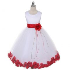 Kids Dream Little Girls White Satin Red Floating Petal Flower Girl Dress 2T-6