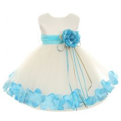Kids Dream Baby Girls Ivory Aqua Satin Petal Floating Flower Girl Dress 6-24M
