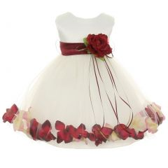 Kids Dream Baby Girl Ivory Burgundy Satin Petal Floating Flower Girl Dress 6-24M