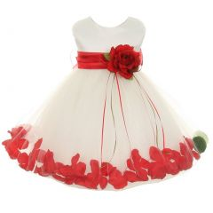 Kids Dream Baby Girls Ivory Red Satin Petal Floating Flower Girl Dress 6-24M