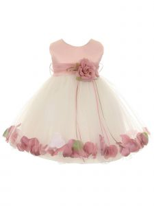 Kids Dream Baby Girls Ivory Rose Top Satin Petal Floating Flower Girl Dress 6-24M