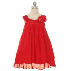 Kids Dream Little Girls Red Chiffon A Line Flower Girl Dress 2-14