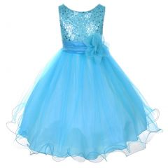 Kids Dream Big Girls Aqua Sequin Bodice Floral Overlaid Flower Girl Dress 8-14