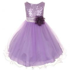 Kids Dream Little Girls Lavender Sequin Floral Overlay Flower Girl Dress 2-6
