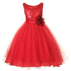 Kids Dream Little Girls Red Sequin Bodice Floral Overlaid Flower Girl Dress 2-6