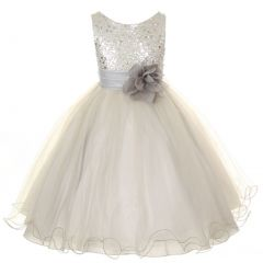 Kids Dream Big Girls Silver Sequin Bodice Floral Overlaid Flower Girl Dress 8-14
