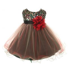 Kids Dream Baby Girls Red Multi Sequin Tulle Special Occasion Dress 6-24M