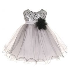 Kids Dream Baby Girls Silver Multi Sequin Tulle Special Occasion Dress 6-24M