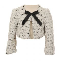 Kids Dream Little Girls Black Ivory Two Tone Detachable Bow Bolero 2T-6