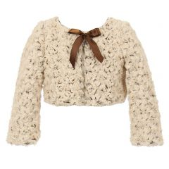 Kids Dream Big Girls Tan Brown Two Tone Detachable Bow Bolero 8-12