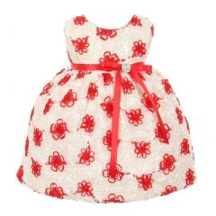 Kids Dream Baby Girls Red Satin Embroidered Mesh Flower Girl Dress 3-24M