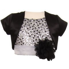 Kids Dream Little Girls Black Satin Short Special Occasion Bolero 2-6