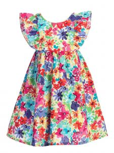 Kids Dream Little Girls Multi Color Floral Print Ruffle Cotton Easter Dress 2-6