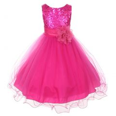 Kids Dream Big Girls Fuchsia Sequin Bodice Floral Overlay Flower Girl Dress 8-14