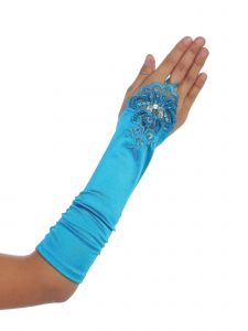 Girls Turquoise Floral Embroidery Fingerless Long Special Occasion Gloves 4-14