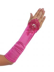 Girls Fuchsia Floral Embroidery Fingerless Long Special Occasion Gloves 4-14