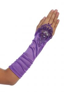 Girls Purple Floral Embroidery Fingerless Long Special Occasion Gloves 4-14