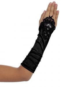 Girls Black Floral Embroidery Fingerless Long Special Occasion Gloves 4-14