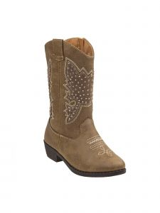 Kensie Girl Taupe Stitch Detail Dual Pull Tab Heel Boots 11-4 Kids
