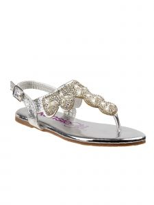 Kensie Girls Silver Buckle Scalloped Bejeweled Flip Flop Sandals 11-4 Kids