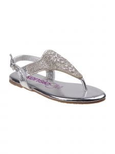 Kensie Girls Silver Buckle Sparkle Bejeweled Flip Flop Sandals 11-4 Kids
