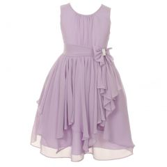 Little Girls Lilac Chiffon Bow Sash Flower Girl Easter Dress 4-6