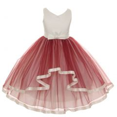 Little Girls Wine V-neck Satin Bow 3 Layer Tulle Flower Girl Dress 2-6