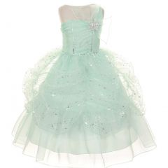 Big Girls Mint One Shoulder Bow Sparkle Organza Pick Up Party Dress 8-12