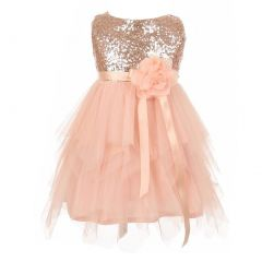 Big Girls Peach Sequined Bodice Poly Mesh Double Layered Party Dress 8
