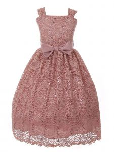 Big Girls Pink Lace Sequin Skater Lace Fall Junior Bridesmaid Dress 8-12