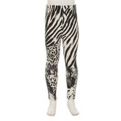 Girls Black White Zebra Animal Pattern Stretchy Trendy Leggings 6-12