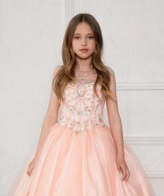 Calla Collection Little Girls Blush Stone Encrusted Pageant Dress 6