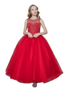 Big Girls Red Sweetheart Neckline Rhinestone Pageant Ball Dress 8-16
