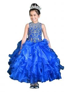Calla Collection Little Girls Multi Color Ruffle Embroidered Pageant Dress 3-16