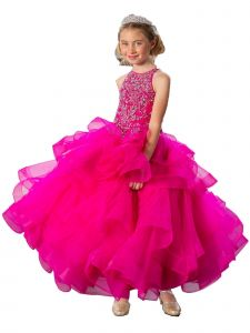 Calla Collection Big Girls Magenta Multi Layered Junior Bridesmaid Dress 8-16